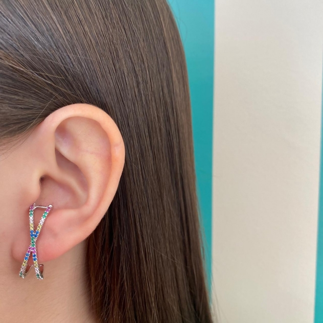 Brinco Ear Hook Maior X com Zircônias Colors Prata