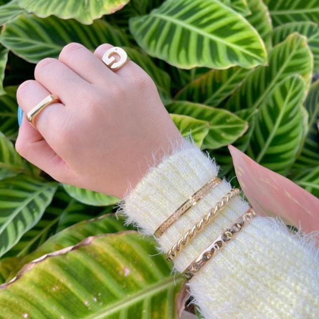 Pulseira Bracelete Vários Infinitos Vazado Ouro