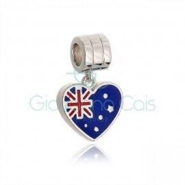 Berloque Coração Inglaterra Prata