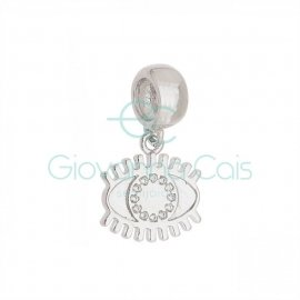 Berloque Olho Grego com Zircônia Prata