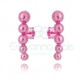 Brinco Ear Hook Bolinhas Lisas Pink