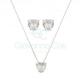 Conjunto Coração Básico Cristal Prata